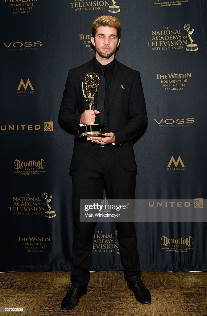 Actor <a gi-track='captionPersonalityLinkClicked' href=/galleries/search?phrase=Bryan+Craig&family=editorial&specificpeople=8088252 ng-click='$event.stopPropagation()'>Bryan Craig</a> poses with his Emmy for Outstanding Younger Actor in a Drama Series in the press room at the 43rd Annual Daytime Emmy Awards at the Westin Bonaventure Hotel on May 1, 2016 in Los Angeles, California.