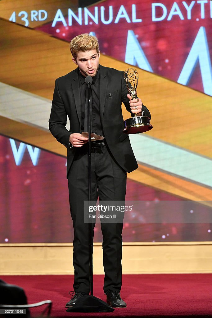 Actor <a gi-track='captionPersonalityLinkClicked' href=/galleries/search?phrase=Bryan+Craig&family=editorial&specificpeople=8088252 ng-click='$event.stopPropagation()'>Bryan Craig</a> speaks onstage after receiving an Emmy for Outstanding Younger Actor in a Drama Series at the 43rd Annual Daytime Emmy Awards at the Westin Bonaventure Hotel on May 1, 2016 in Los Angeles, California.