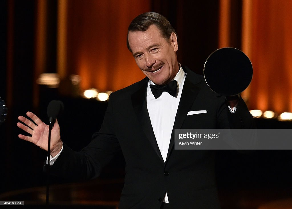 Actor <a gi-track='captionPersonalityLinkClicked' href=/galleries/search?phrase=Bryan+Cranston&family=editorial&specificpeople=217768 ng-click='$event.stopPropagation()'>Bryan Cranston</a> accepts Outstanding Lead Actor in a Drama Series for 'Breaking Bad' onstage at the 66th Annual Primetime Emmy Awards held at Nokia Theatre L.A. Live on August 25, 2014 in Los Angeles, California.