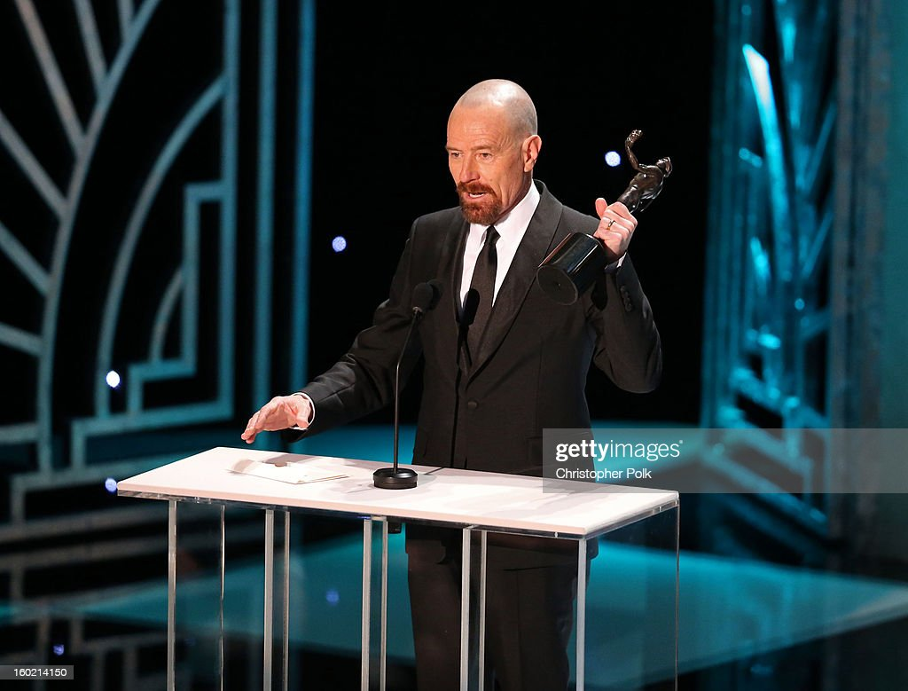 Actor Bryan Cranston accepts the award for 'Outstanding Performance by a Male Actor in a Drama Series' onstage during the 19th Annual Screen Actors Guild Awards at The Shrine Auditorium on January 27, 2013 in Los Angeles, California. (Photo by Christopher Polk/WireImage) 23116_012_2035.jpg