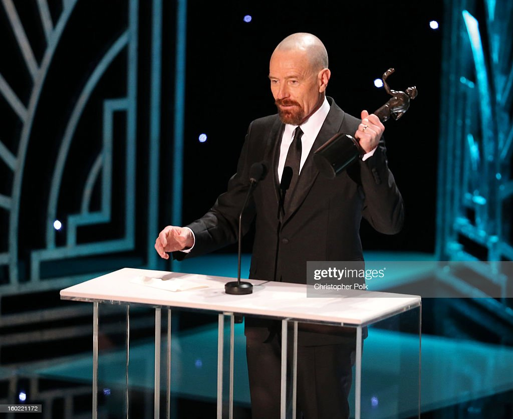 Actor Bryan Cranston accepts the award for 'Outstanding Performance by a Male Actor in a Drama Series' onstage during the 19th Annual Screen Actors Guild Awards at The Shrine Auditorium on January 27, 2013 in Los Angeles, California. (Photo by Christopher Polk/WireImage) 23116_012_2034.jpg