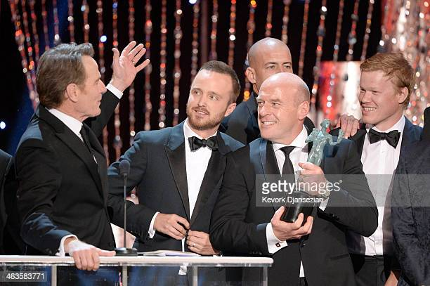 Actor Bryan Cranston accepts the Outstanding Performance by an Ensemble in a Drama Series award for 'Breaking Bad' onstage during the 20th Annual...