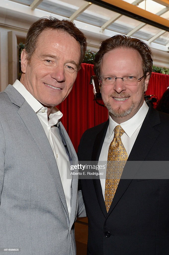 Actor <a gi-track='captionPersonalityLinkClicked' href=/galleries/search?phrase=Bryan+Cranston&family=editorial&specificpeople=217768 ng-click='$event.stopPropagation()'>Bryan Cranston</a> (L) and AFI President/CEO <a gi-track='captionPersonalityLinkClicked' href=/galleries/search?phrase=Bob+Gazzale&family=editorial&specificpeople=2353082 ng-click='$event.stopPropagation()'>Bob Gazzale</a> attend the 14th annual AFI Awards Luncheon at the Four Seasons Hotel Beverly Hills on January 10, 2014 in Beverly Hills, California.