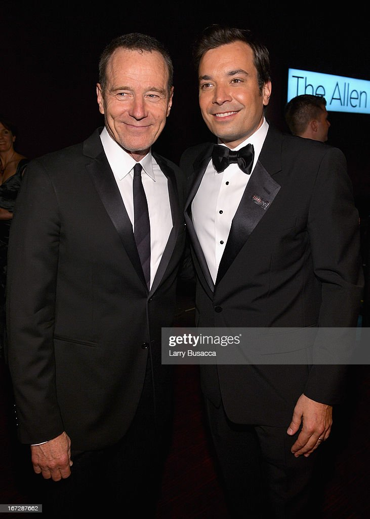 Actor <a gi-track='captionPersonalityLinkClicked' href=/galleries/search?phrase=Bryan+Cranston&family=editorial&specificpeople=217768 ng-click='$event.stopPropagation()'>Bryan Cranston</a> (L) and comedian Jimmy Fallon attend the TIME 100 Gala, TIME'S 100 Most Influential People In The World reception at Jazz at Lincoln Center on April 23, 2013 in New York City.