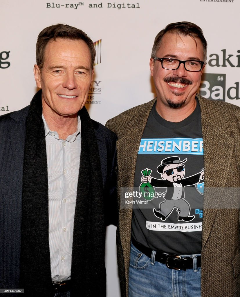 Actor Bryan Cranston and creator Vince Gilligan arrive at the screening of 'No Half Measures Creating The Final Season Of Breaking Bad' DVD Launch at...