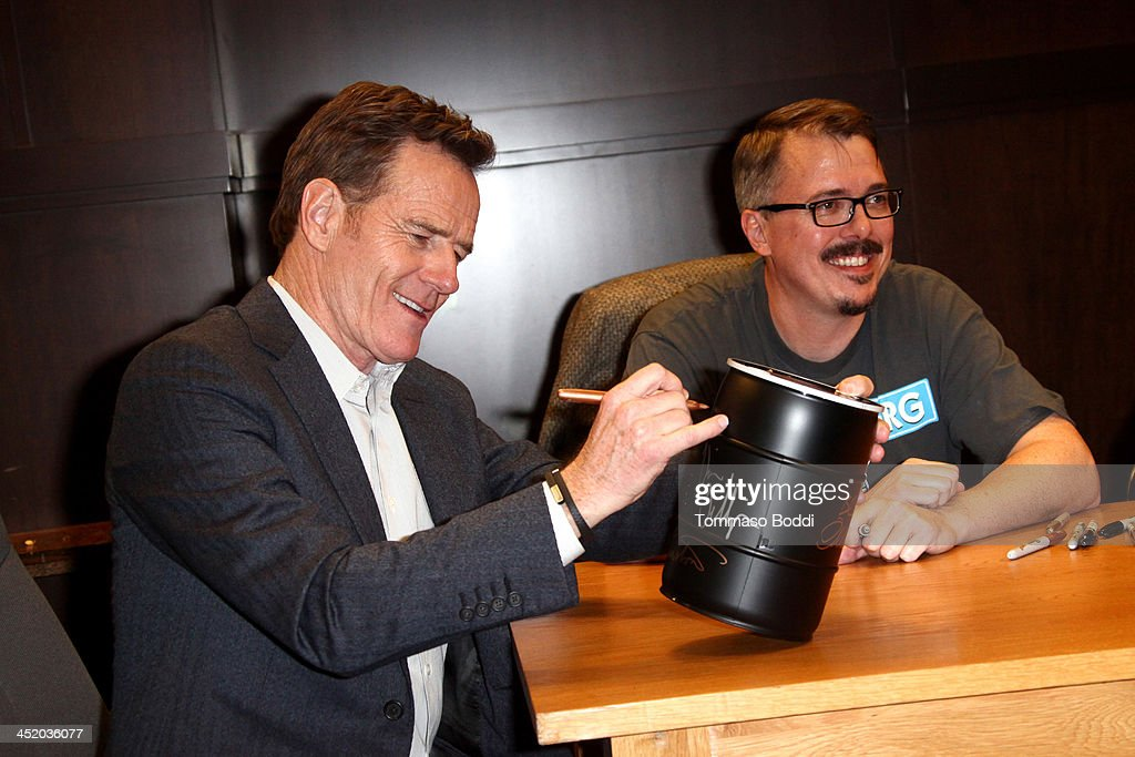 Actor Bryan Cranston and creator Vince Gilligan attend the Sony Pictures Home Entertainment hosts autograph signing for BluRay release of 'Breaking...