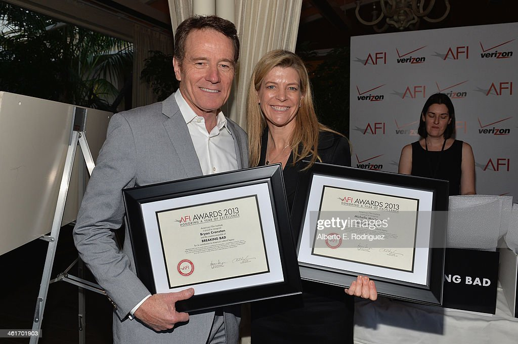 Actor Bryan Cranston and producer Michelle MacLaren, AFI Award honorees, attend the 14th annual AFI Awards Luncheon at the Four Seasons Hotel Beverly Hills on January 10, 2014 in Beverly Hills, California.