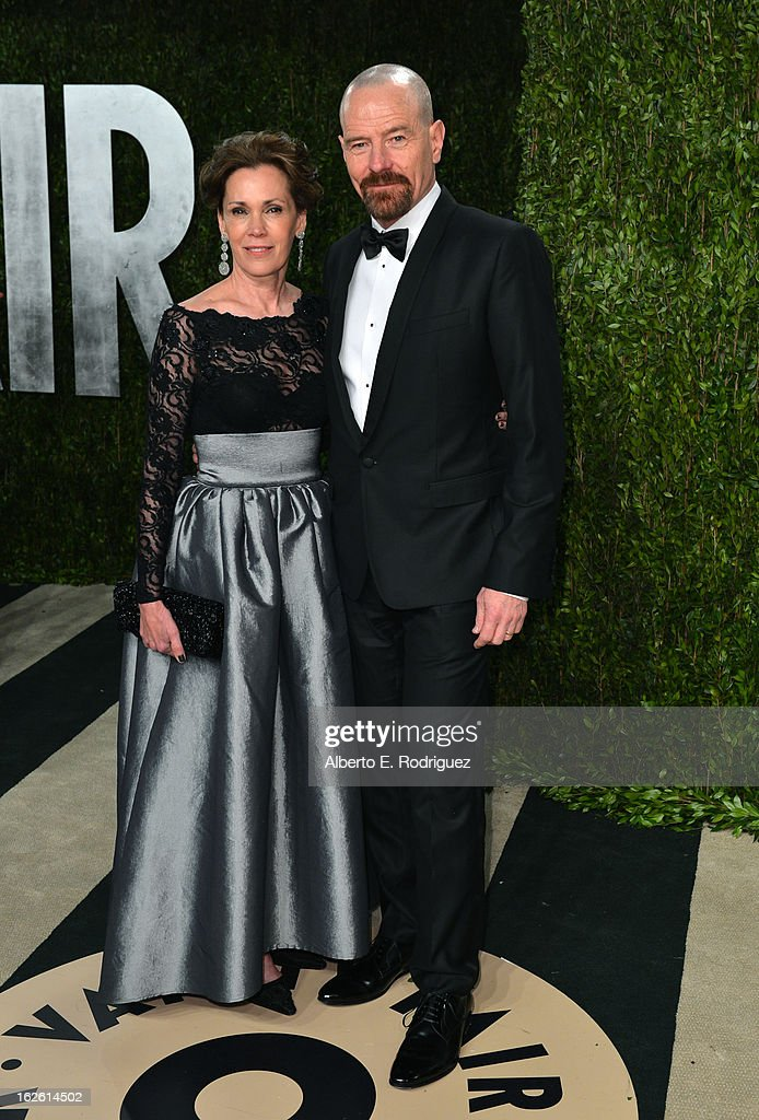 Actor Bryan Cranston (R) and Robin Dearden arrives at the 2013 Vanity Fair Oscar Party hosted by Graydon Carter at Sunset Tower on February 24, 2013 in West Hollywood, California.