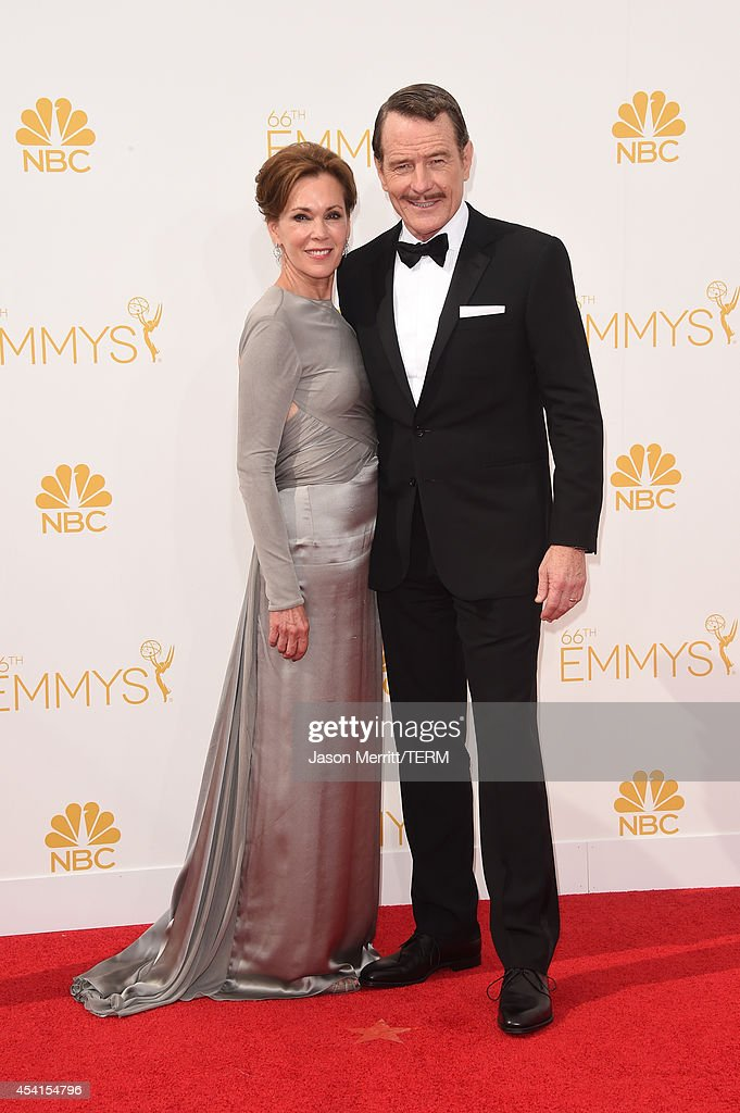Actor Bryan Cranston and Robin Dearden attend the 66th Annual Primetime Emmy Awards held at Nokia Theatre LA Live on August 25 2014 in Los Angeles...