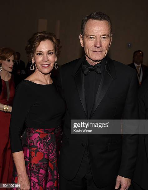 Actor Bryan Cranston and Robin Dearden attend the cocktail reception during the 73rd Annual Golden Globe Awards at The Beverly Hilton Hotel on...