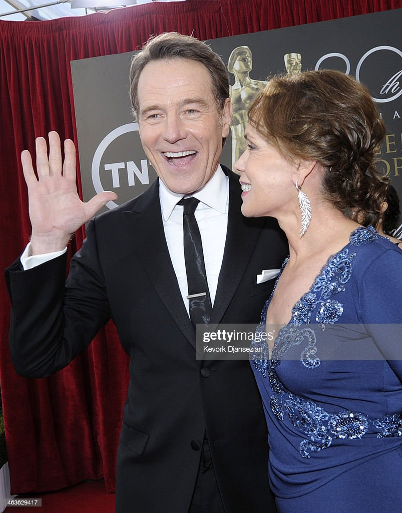 Actor <a gi-track='captionPersonalityLinkClicked' href=/galleries/search?phrase=Bryan+Cranston&family=editorial&specificpeople=217768 ng-click='$event.stopPropagation()'>Bryan Cranston</a> (L) and Robin Dearden attendthe 20th Annual Screen Actors Guild Awards at The Shrine Auditorium on January 18, 2014 in Los Angeles, California.