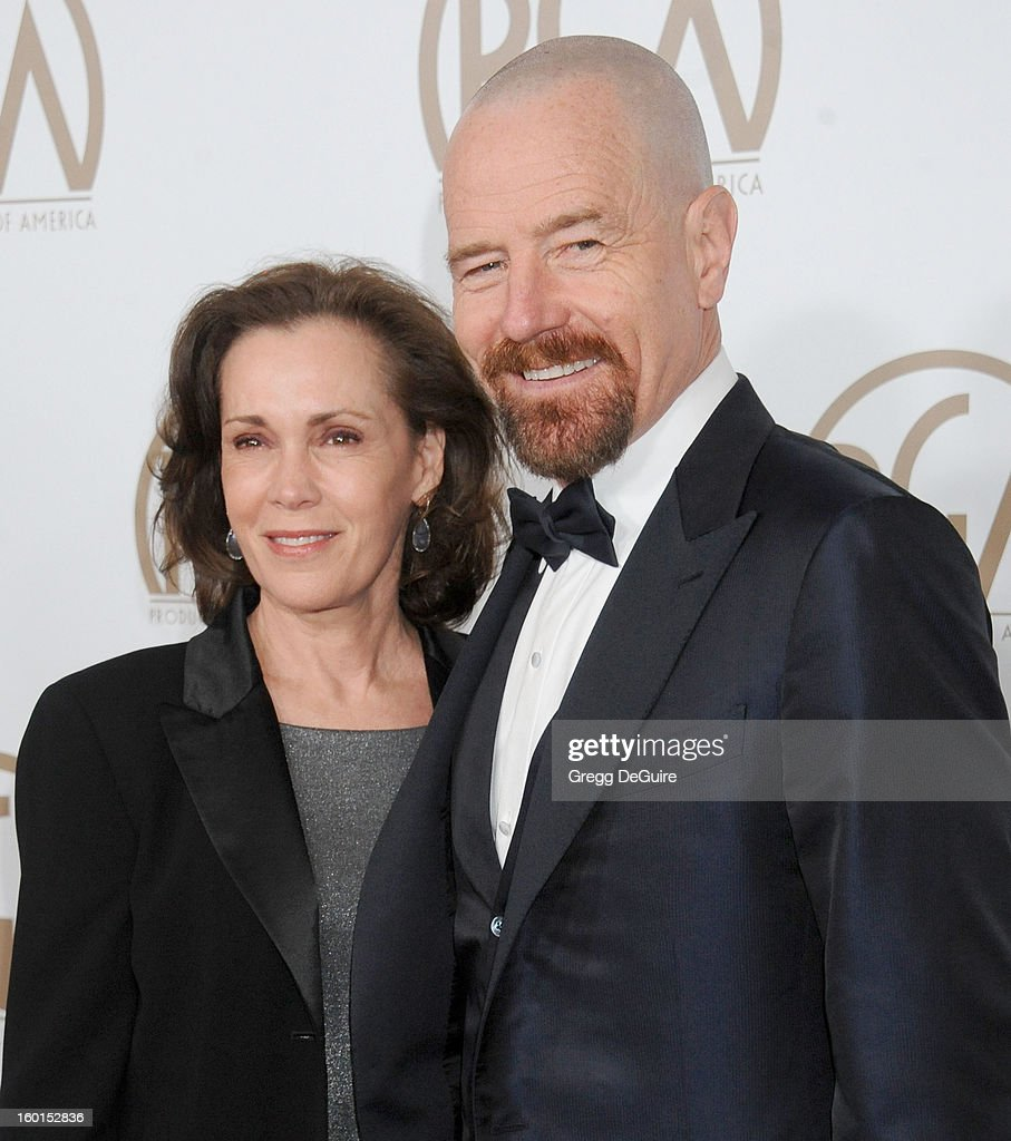Actor <a gi-track='captionPersonalityLinkClicked' href=/galleries/search?phrase=Bryan+Cranston&family=editorial&specificpeople=217768 ng-click='$event.stopPropagation()'>Bryan Cranston</a> and wife Robin Dearden arrive at the 24th Annual Producers Guild Awards at The Beverly Hilton Hotel on January 26, 2013 in Beverly Hills, California.