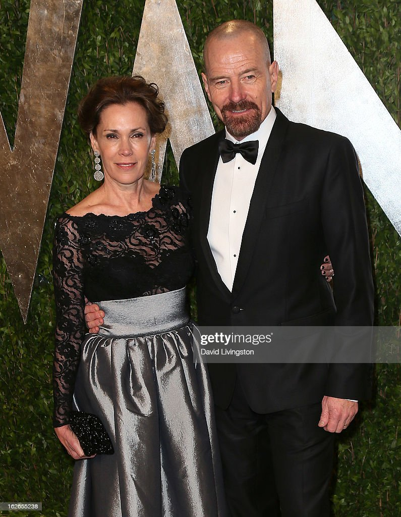 Actor Bryan Cranston (R) and wife Robin Dearden attend the 2013 Vanity Fair Oscar Party at the Sunset Tower Hotel on February 24, 2013 in West Hollywood, California.