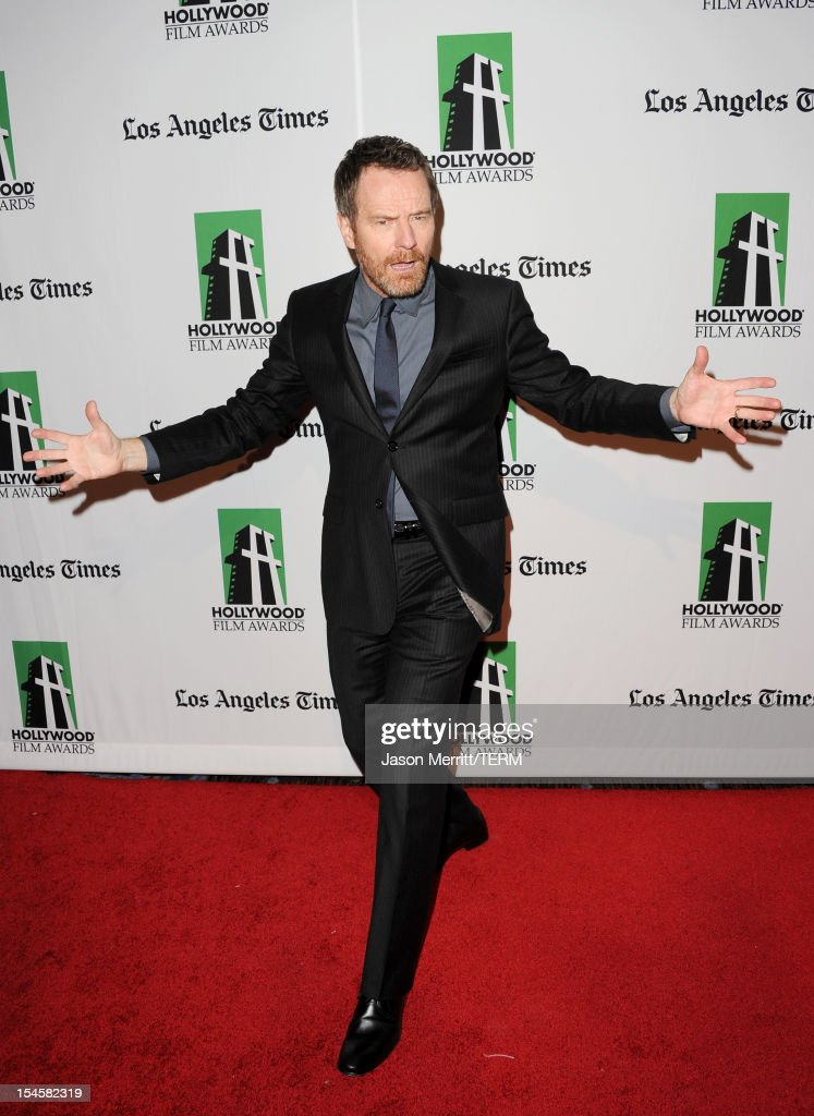 Actor <a gi-track='captionPersonalityLinkClicked' href=/galleries/search?phrase=Bryan+Cranston&family=editorial&specificpeople=217768 ng-click='$event.stopPropagation()'>Bryan Cranston</a> arrives at the 16th Annual Hollywood Film Awards Gala presented by The Los Angeles Times held at The Beverly Hilton Hotel on October 22, 2012 in Beverly Hills, California.