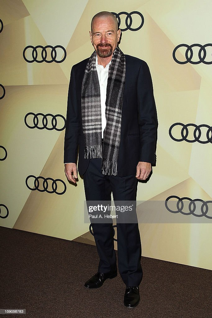 Actor <a gi-track='captionPersonalityLinkClicked' href=/galleries/search?phrase=Bryan+Cranston&family=editorial&specificpeople=217768 ng-click='$event.stopPropagation()'>Bryan Cranston</a> arrives at the Audi Golden Globe 2013 Kick Off Party at Cecconi's Restaurant on January 6, 2013 in Los Angeles, California.