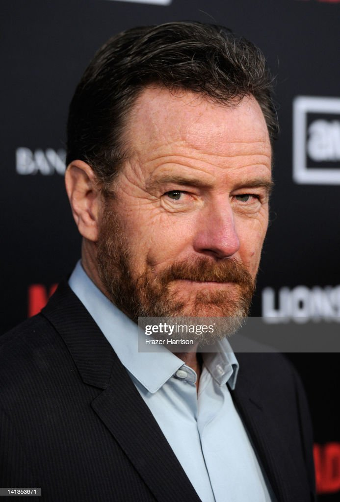 Actor <a gi-track='captionPersonalityLinkClicked' href=/galleries/search?phrase=Bryan+Cranston&family=editorial&specificpeople=217768 ng-click='$event.stopPropagation()'>Bryan Cranston</a> arrives at the Premiere of AMC's 'Mad Men' Season 5 at ArcLight Cinemas on March 14, 2012 in Hollywood, California.