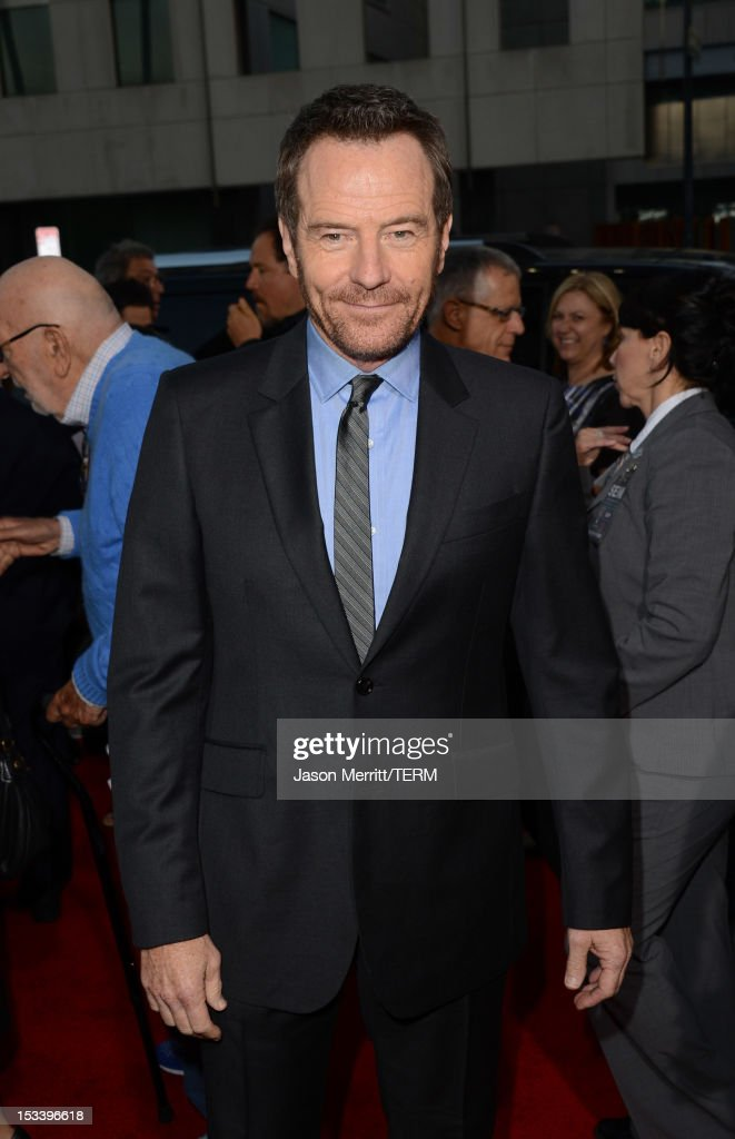 Actor <a gi-track='captionPersonalityLinkClicked' href=/galleries/search?phrase=Bryan+Cranston&family=editorial&specificpeople=217768 ng-click='$event.stopPropagation()'>Bryan Cranston</a> arrives at the premiere of Warner Bros. Pictures' 'Argo' at AMPAS Samuel Goldwyn Theater on October 4, 2012 in Beverly Hills, California.