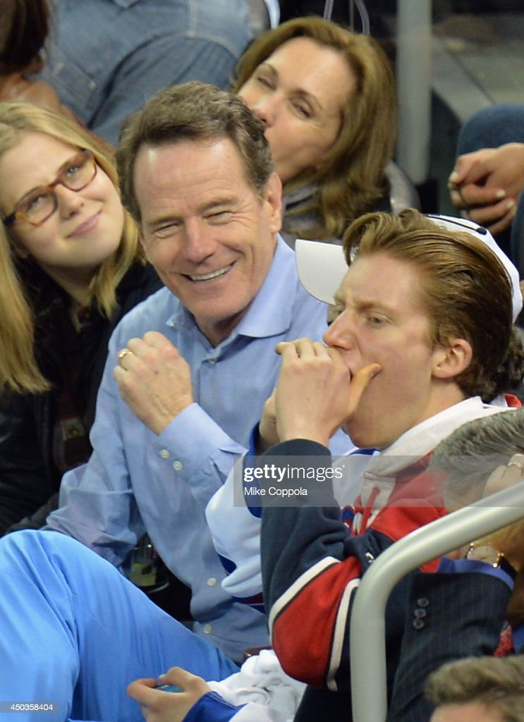 Actor <a gi-track='captionPersonalityLinkClicked' href=/galleries/search?phrase=Bryan+Cranston&family=editorial&specificpeople=217768 ng-click='$event.stopPropagation()'>Bryan Cranston</a> (2nd from L) attends game 3 of the 2014 NHL Stanley Cup Final at Madison Square Garden on June 9, 2014 in New York City.