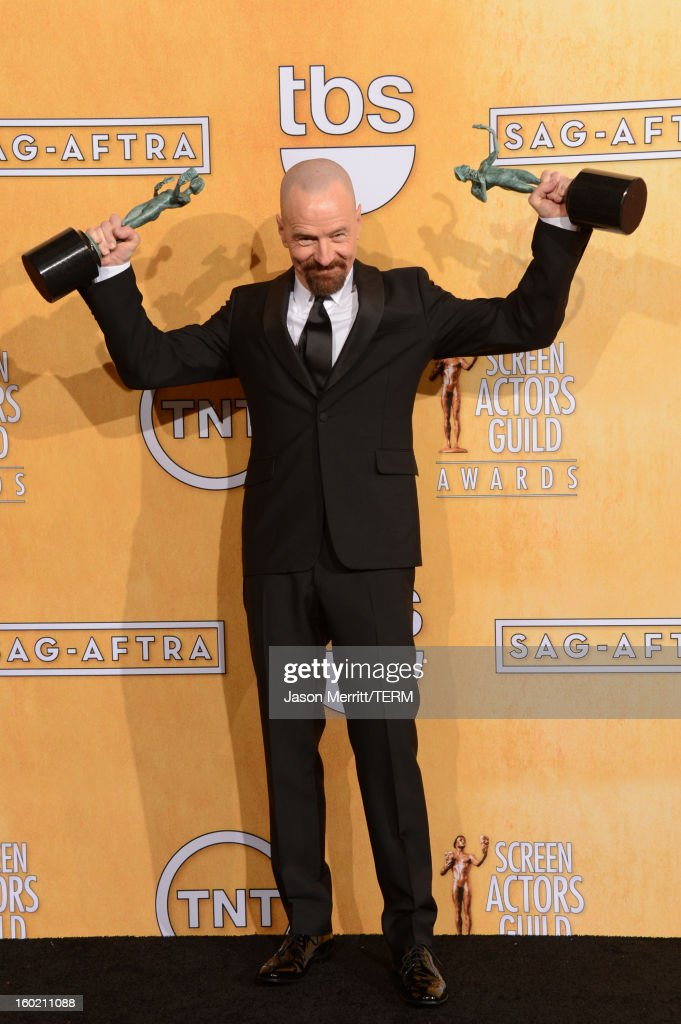 Actor <a gi-track='captionPersonalityLinkClicked' href=/galleries/search?phrase=Bryan+Cranston&family=editorial&specificpeople=217768 ng-click='$event.stopPropagation()'>Bryan Cranston</a> attends the 19th Annual Screen Actors Guild Awards at The Shrine Auditorium on January 27, 2013 in Los Angeles, California. (Photo by Jason Merritt/WireImage) 23116_014_3439.jpg