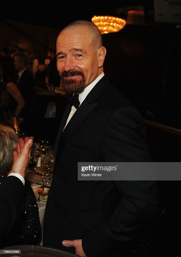 Actor <a gi-track='captionPersonalityLinkClicked' href=/galleries/search?phrase=Bryan+Cranston&family=editorial&specificpeople=217768 ng-click='$event.stopPropagation()'>Bryan Cranston</a> attends the 70th Annual Golden Globe Awards Cocktail Party held at The Beverly Hilton Hotel on January 13, 2013 in Beverly Hills, California.