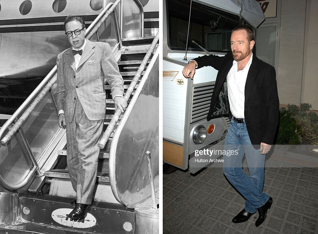 In this composite image a comparison has been made between <a gi-track='captionPersonalityLinkClicked' href=/galleries/search?phrase=Dalton+Trumbo&family=editorial&specificpeople=990539 ng-click='$event.stopPropagation()'>Dalton Trumbo</a> (L) and actor <a gi-track='captionPersonalityLinkClicked' href=/galleries/search?phrase=Bryan+Cranston&family=editorial&specificpeople=217768 ng-click='$event.stopPropagation()'>Bryan Cranston</a>. Actor <a gi-track='captionPersonalityLinkClicked' href=/galleries/search?phrase=Bryan+Cranston&family=editorial&specificpeople=217768 ng-click='$event.stopPropagation()'>Bryan Cranston</a> will play <a gi-track='captionPersonalityLinkClicked' href=/galleries/search?phrase=Dalton+Trumbo&family=editorial&specificpeople=990539 ng-click='$event.stopPropagation()'>Dalton Trumbo</a> in a film biopic 'Trumbo' directed by Jay Roach. CULVER CITY, CA - JANUARY 15: Actor <a gi-track='captionPersonalityLinkClicked' href=/galleries/search?phrase=Bryan+Cranston&family=editorial&specificpeople=217768 ng-click='$event.stopPropagation()'>Bryan Cranston</a> attends the premiere of AMC's 'Breaking Bad' at Sony Pictures Studios on January 15, 2008 in Culver City, California.