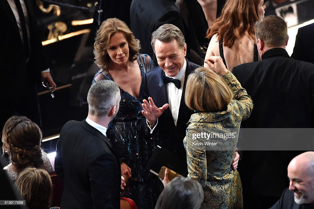 Actor Bryan Cranston (C) in the audience during the 88th Annual Academy Awards at the Dolby Theatre on February 28, 2016 in Hollywood, California.