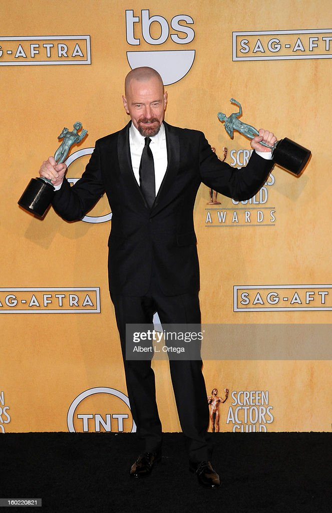 Actor <a gi-track='captionPersonalityLinkClicked' href=/galleries/search?phrase=Bryan+Cranston&family=editorial&specificpeople=217768 ng-click='$event.stopPropagation()'>Bryan Cranston</a> poses at the 19th Annual Screen Actors Guild Awards - Press Room held at The Shrine Auditorium on January 27, 2013 in Los Angeles, California.