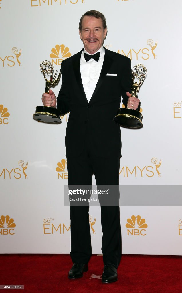 Actor <a gi-track='captionPersonalityLinkClicked' href=/galleries/search?phrase=Bryan+Cranston&family=editorial&specificpeople=217768 ng-click='$event.stopPropagation()'>Bryan Cranston</a> poses in the press room at the 66th Annual Primetime Emmy Awards at the Nokia Theatre L.A. Live on August 25, 2014 in Los Angeles, California.