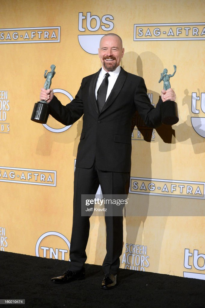 Actor <a gi-track='captionPersonalityLinkClicked' href=/galleries/search?phrase=Bryan+Cranston&family=editorial&specificpeople=217768 ng-click='$event.stopPropagation()'>Bryan Cranston</a> poses in the press room during the 19th Annual Screen Actors Guild Awards held at The Shrine Auditorium on January 27, 2013 in Los Angeles, California.