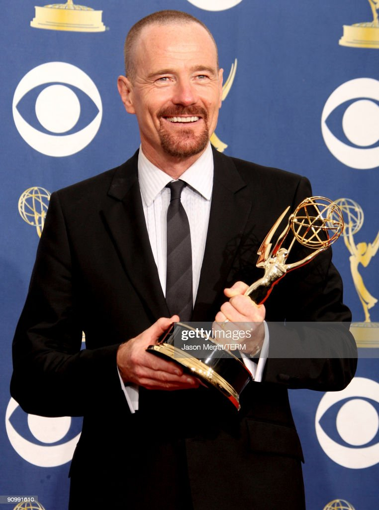Actor <a gi-track='captionPersonalityLinkClicked' href=/galleries/search?phrase=Bryan+Cranston&family=editorial&specificpeople=217768 ng-click='$event.stopPropagation()'>Bryan Cranston</a> poses in the press room with his Emmy for Outstanding Actor in a Drama Series for 'Breaking Bad' at the 61st Primetime Emmy Awards held at the Nokia Theatre on September 20, 2009 in Los Angeles, California.