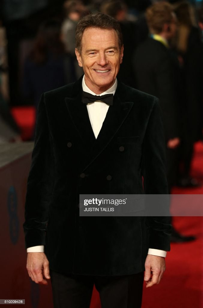 US actor Bryan Cranston poses on arrival for the BAFTA British Academy Film Awards at the Royal Opera House in London on February 14, 2016. TALLIS