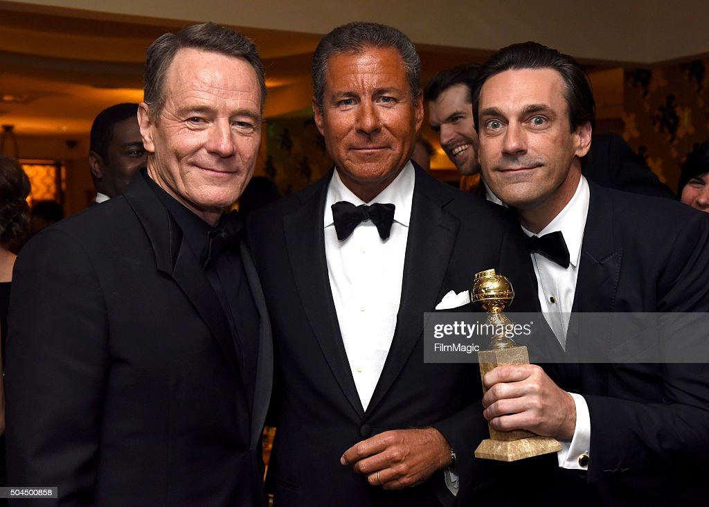 Actor Bryan Cranston Richard Plepler andactor Jon Hamm attend HBO's Official Golden Globe Awards After Party at The Beverly Hilton Hotel on January...