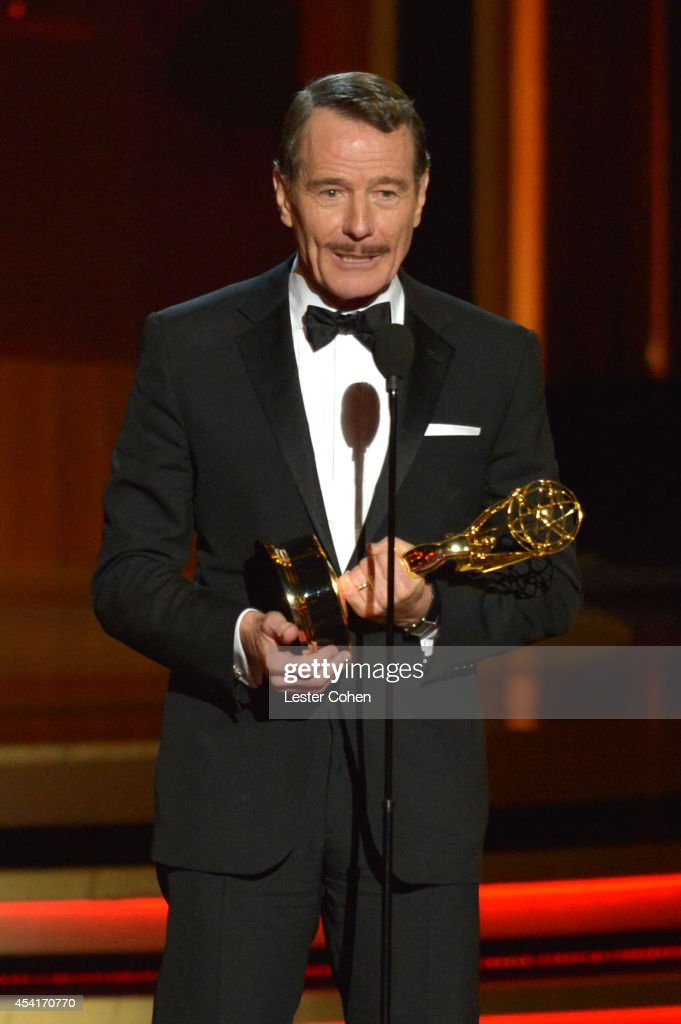 Actor Bryan Cranston speaks onstage at the 66th Annual Primetime Emmy Awards held at Nokia Theatre LA Live on August 25 2014 in Los Angeles California