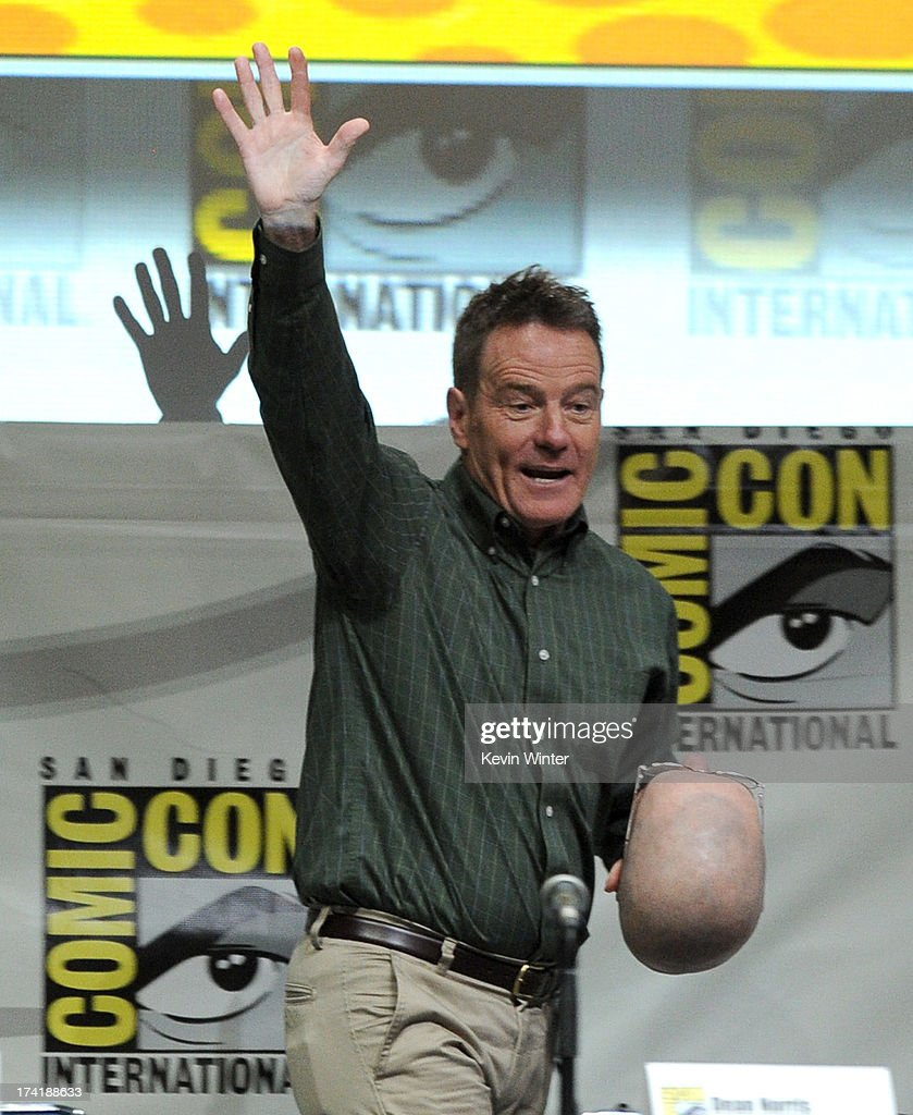 Actor <a gi-track='captionPersonalityLinkClicked' href=/galleries/search?phrase=Bryan+Cranston&family=editorial&specificpeople=217768 ng-click='$event.stopPropagation()'>Bryan Cranston</a> speaks onstage at the 'Breaking Bad' panel during Comic-Con International 2013 at San Diego Convention Center on July 21, 2013 in San Diego, California.