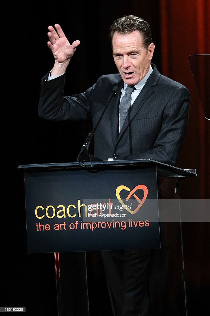 Actor <a gi-track='captionPersonalityLinkClicked' href=/galleries/search?phrase=Bryan+Cranston&family=editorial&specificpeople=217768 ng-click='$event.stopPropagation()'>Bryan Cranston</a> speaks onstage during CoachArt's 9th Annual 'Gala Of Champions' at The Beverly Hilton Hotel on October 17, 2013 in Beverly Hills, California.
