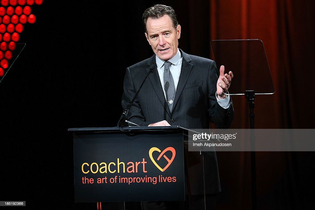 Actor Bryan Cranston speaks onstage during CoachArt's 9th Annual 'Gala Of Champions' at The Beverly Hilton Hotel on October 17, 2013 in Beverly Hills, California.