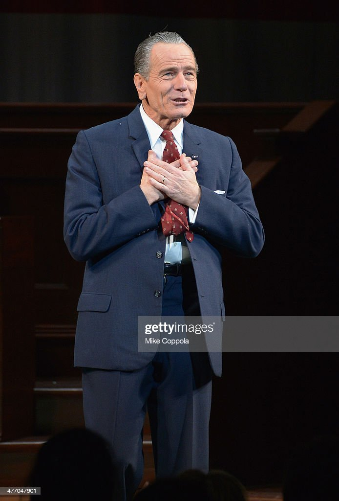 Actor <a gi-track='captionPersonalityLinkClicked' href=/galleries/search?phrase=Bryan+Cranston&family=editorial&specificpeople=217768 ng-click='$event.stopPropagation()'>Bryan Cranston</a> takes a certain call during 'All The Way' opening night at Neil Simon Theatre on March 6, 2014 in New York City.