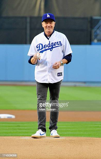 Actor Bryan Cranston throws out the ceremonial first pitch before the MLB game between the Cincinnatti Reds and Los Angeles Dodgers at Dodger Stadium...