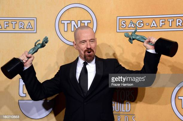 Actor Bryan Cranston winner of Outstanding Performance by a Male Actor in a Drama Series for 'Breaking Bad' and Outstanding Performance by a Cast in...