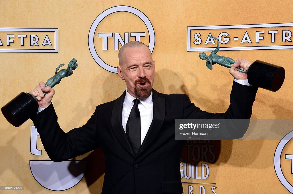 Actor Bryan Cranston, winner of Outstanding Performance by a Male Actor in a Drama Series for 'Breaking Bad' and Outstanding Performance by a Cast in a Motion Picture for 'Argo,' poses in the press room during the 19th Annual Screen Actors Guild Awards held at The Shrine Auditorium on January 27, 2013 in Los Angeles, California.