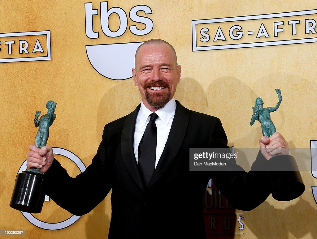 Actor <a gi-track='captionPersonalityLinkClicked' href=/galleries/search?phrase=Bryan+Cranston&family=editorial&specificpeople=217768 ng-click='$event.stopPropagation()'>Bryan Cranston</a>, winner of Outstanding Performance by a Male Actor in a Drama Series for 'Breaking Bad' and Outstanding Performance by a Cast in a Motion Picture for 'Argo', poses in the press room at the 19th Annual Screen Actors Guild Awards at the Shrine Auditorium on January 27, 2013 in Los Angeles, California.