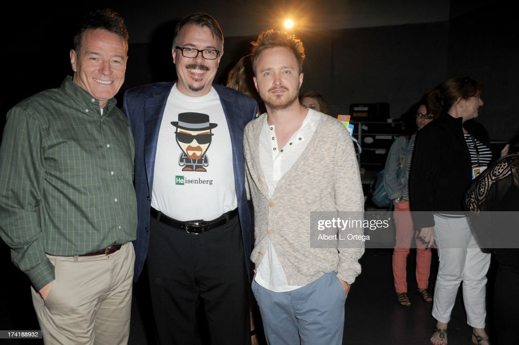 Actor <a gi-track='captionPersonalityLinkClicked' href=/galleries/search?phrase=Bryan+Cranston&family=editorial&specificpeople=217768 ng-click='$event.stopPropagation()'>Bryan Cranston</a>, Writer/producer <a gi-track='captionPersonalityLinkClicked' href=/galleries/search?phrase=Vince+Gilligan&family=editorial&specificpeople=4360133 ng-click='$event.stopPropagation()'>Vince Gilligan</a> and <a gi-track='captionPersonalityLinkClicked' href=/galleries/search?phrase=Aaron+Paul+-+Actor&family=editorial&specificpeople=693211 ng-click='$event.stopPropagation()'>Aaron Paul</a> speak onstage at the 'Breaking Bad' panel during Comic-Con International 2013 at San Diego Convention Center on July 21, 2013 in San Diego, California.