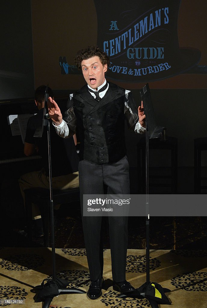 Actor Bryce Pinkham performs at 'A Gentleman's Guide To Love And Murder' Press Preview at Norwood Club on October 4, 2013 in New York City.
