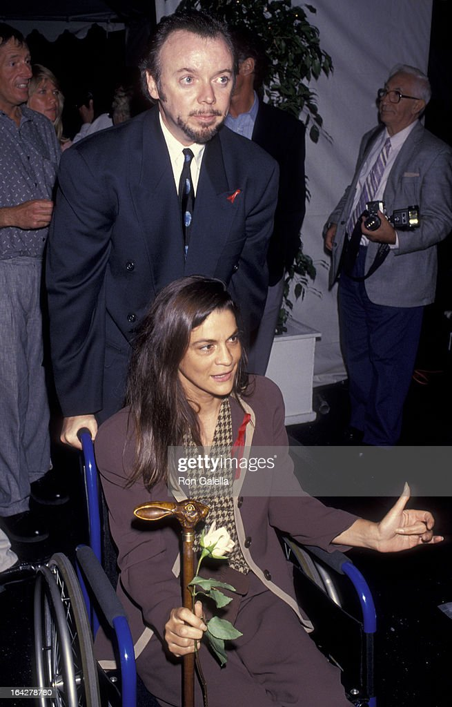 Actor Bud Cort and Aileen Getty attend the screening of 'The Band Played On' on August 31 1993 at the Academy Theater in Beverly Hills California