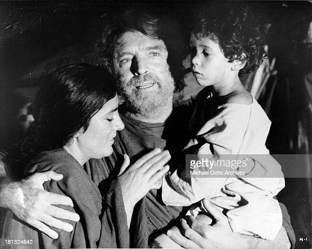Actor Burt Lancaster and actress Irene Papas on set for the TV MiniSeries ' Moses the Lawgiver ' in 1974