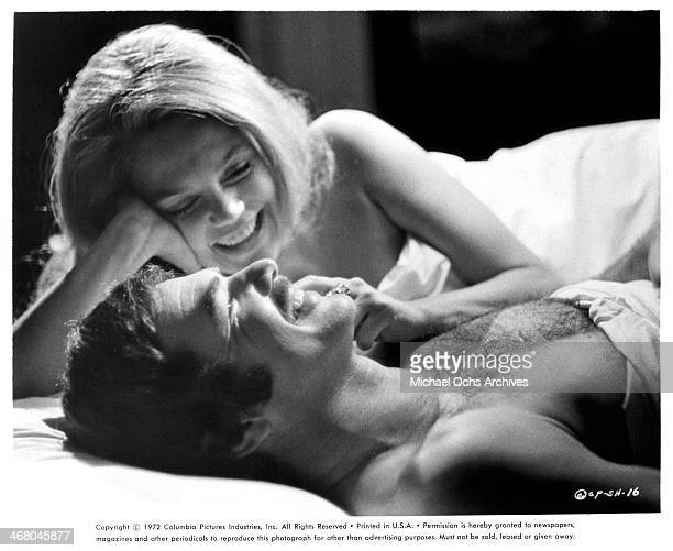 Actor Burt Reynolds and actress Dyan Cannon on set of the movie 'Shamus' circa 1973