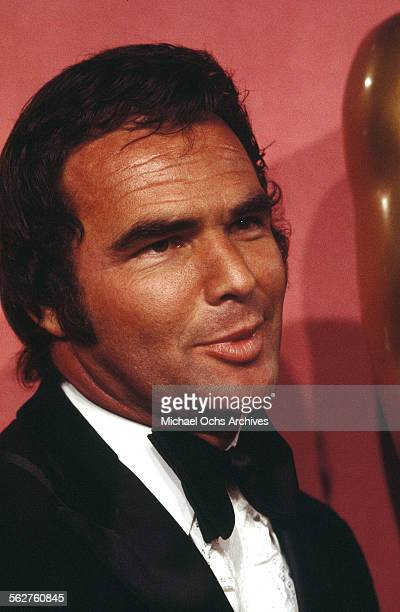 Actor Burt Reynolds poses backstage during the 46th Academy Awards at Dorothy Chandler Pavilion in Los AngelesCalifornia