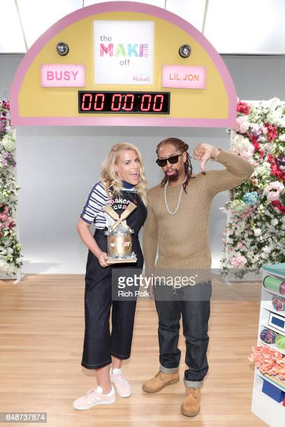 Actor Busy Philipps and rapper Lil Jon behind the scenes of Making with Michaels at Stage THIS on March 2 2017 in Sun Valley California