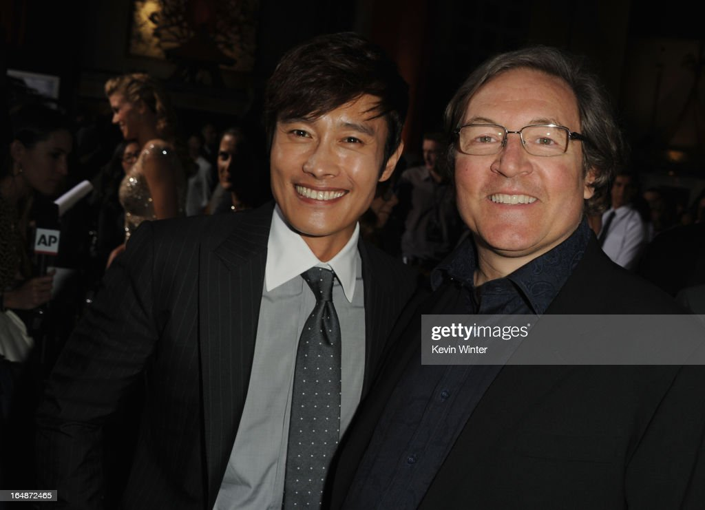 Actor Byung-Hun Lee and producer <a gi-track='captionPersonalityLinkClicked' href=/galleries/search?phrase=Lorenzo+di+Bonaventura&family=editorial&specificpeople=843530 ng-click='$event.stopPropagation()'>Lorenzo di Bonaventura</a> attend the premiere of Paramount Pictures' 'G.I. Joe:Retaliation' at TCL Chinese Theatre on March 28, 2013 in Hollywood, California.