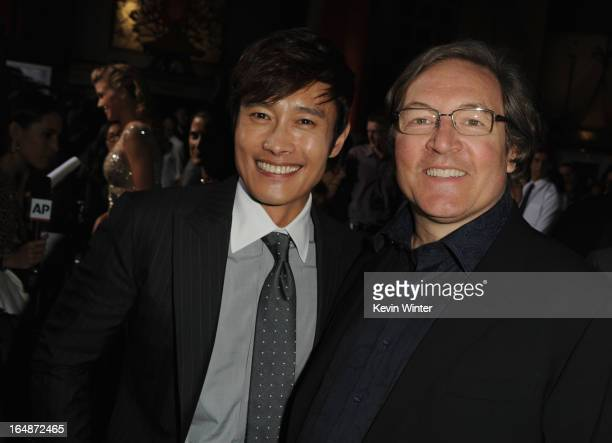Actor ByungHun Lee and producer Lorenzo di Bonaventura attend the premiere of Paramount Pictures' 'GI JoeRetaliation' at TCL Chinese Theatre on March...